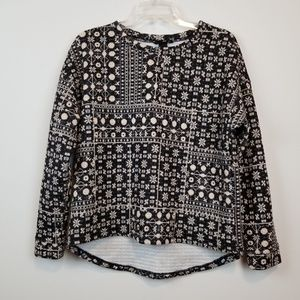H&M textured winter printed sweater top size S